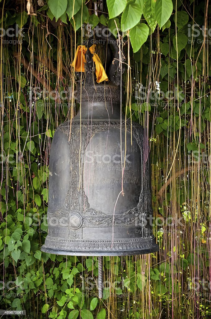 Detail of the bell at Golden mount (Wat Sutep), Bangkok royalty-free stock photo