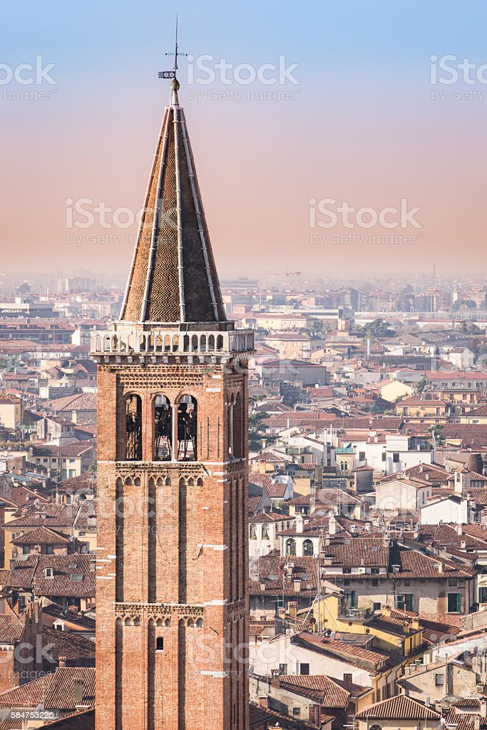 Detail of the bell tower of the Santa Anastasia church. stock photo