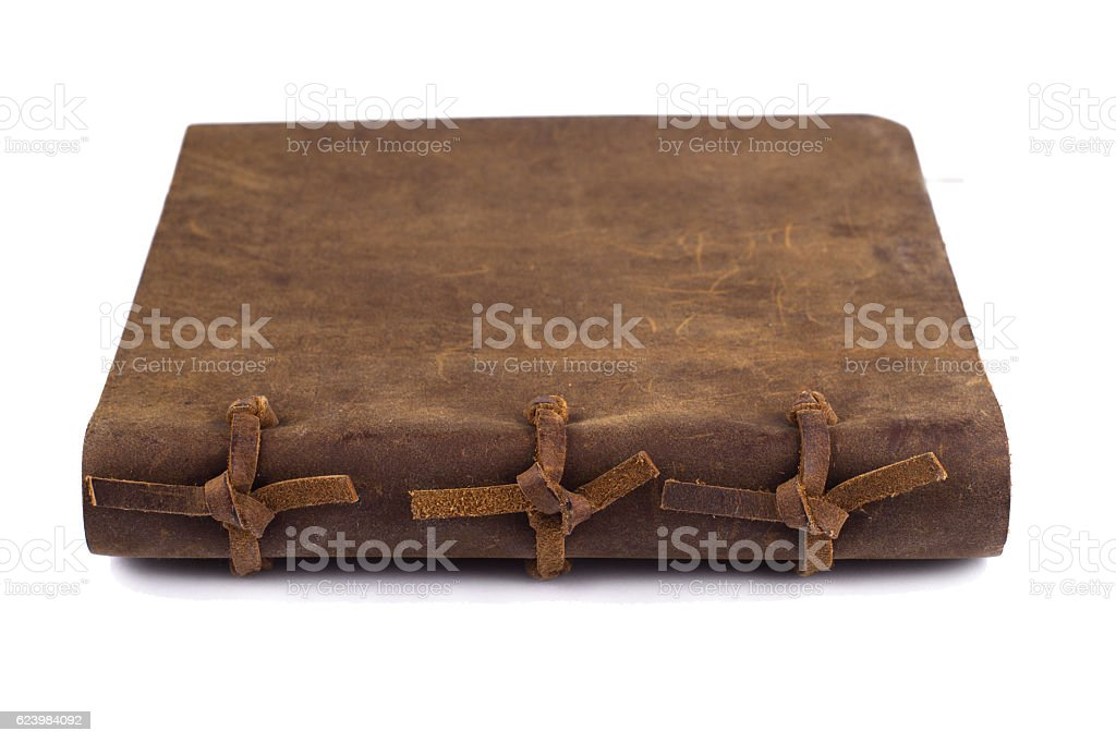 detail of the bindings of a leather notebook stock photo
