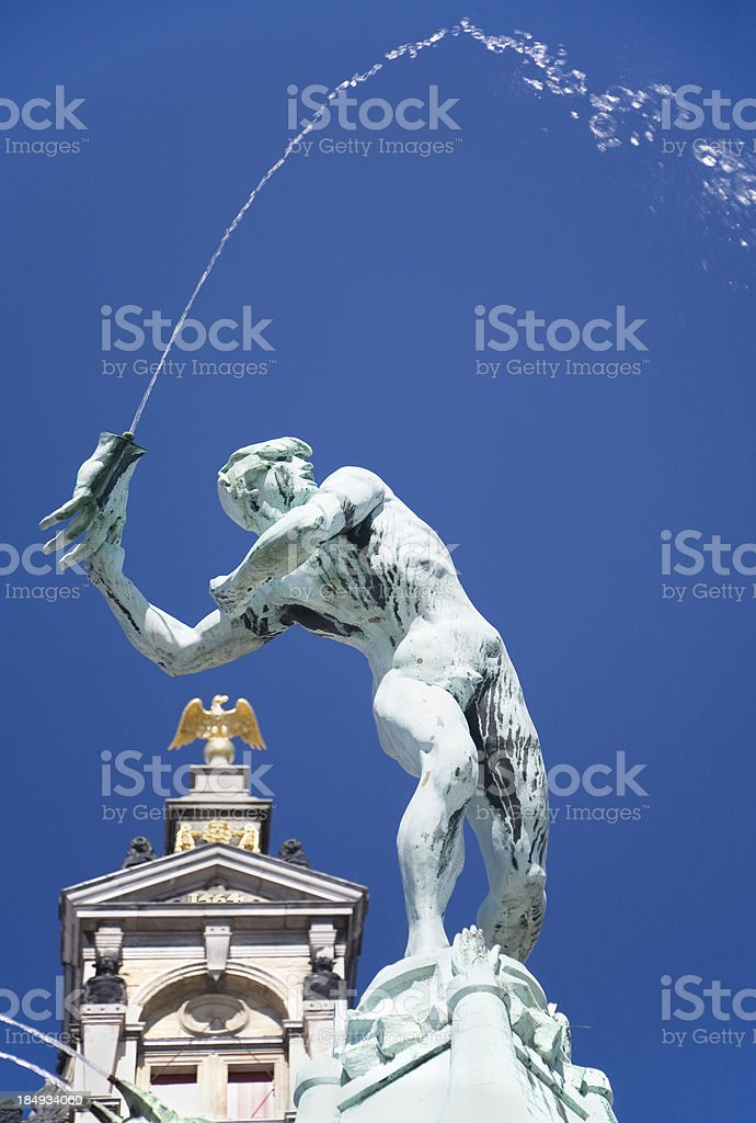 Detail of the Brabo fountain in Antwerp stock photo