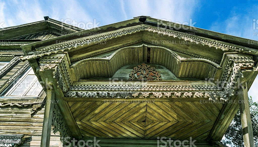 Detail of the canopy of an old Russian house stock photo