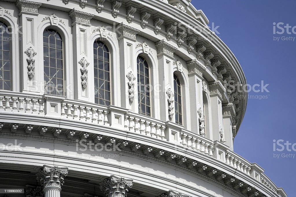Detail of the Capitol Dome in Washington, DC. royalty-free stock photo