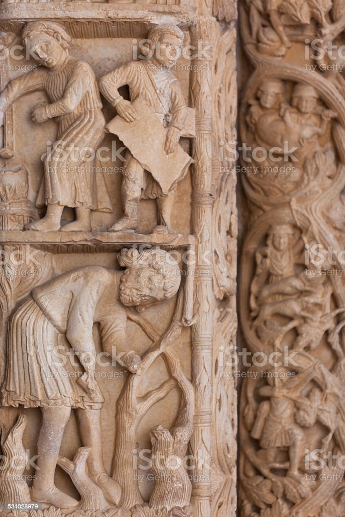 Detail of the Cathedral of St. Lawrence in Trogir, Croatia stock photo