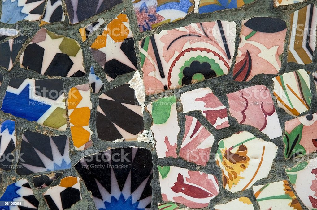 Detail of the ceramics. Gaudi bench in Park Guell. Barcelona. royalty-free stock photo