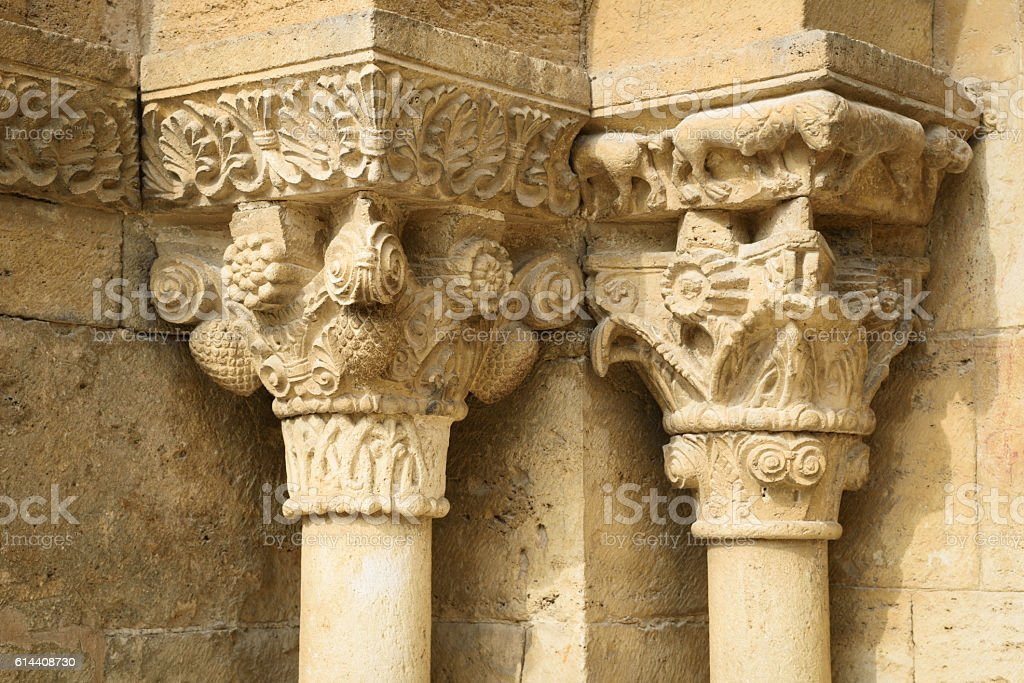 Detail of the Church  Santa Maria de Porqueres stock photo