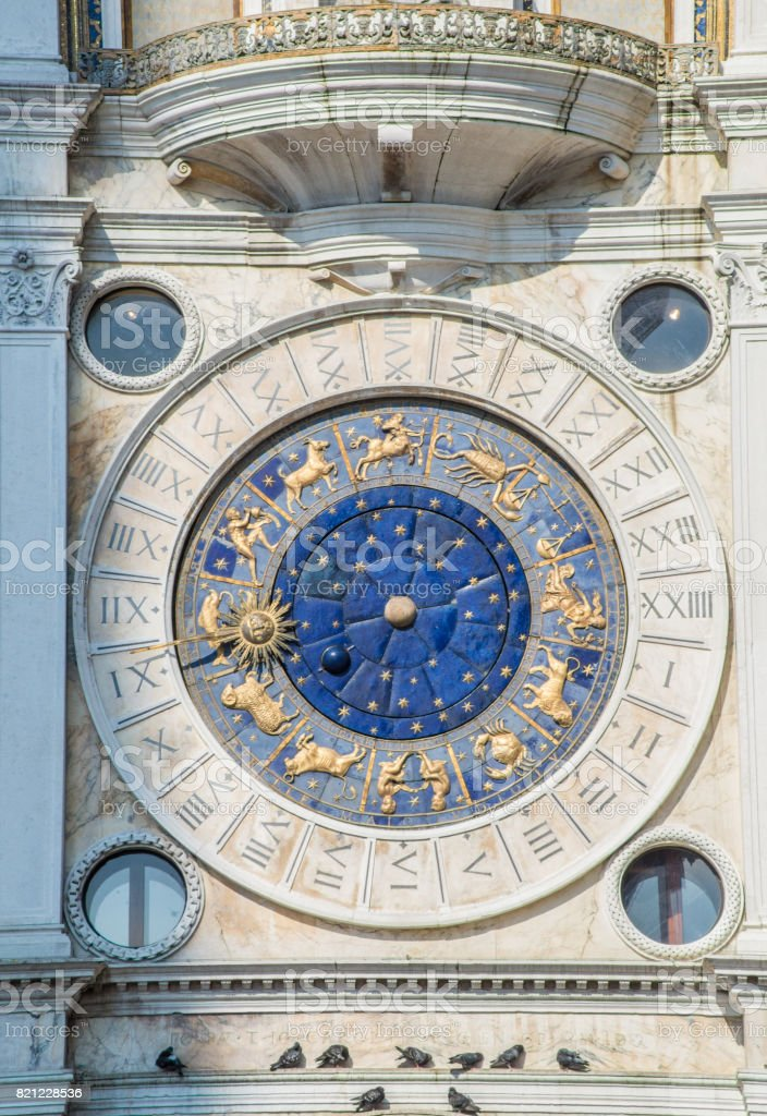 Detail of The Clock Tower in Venice stock photo