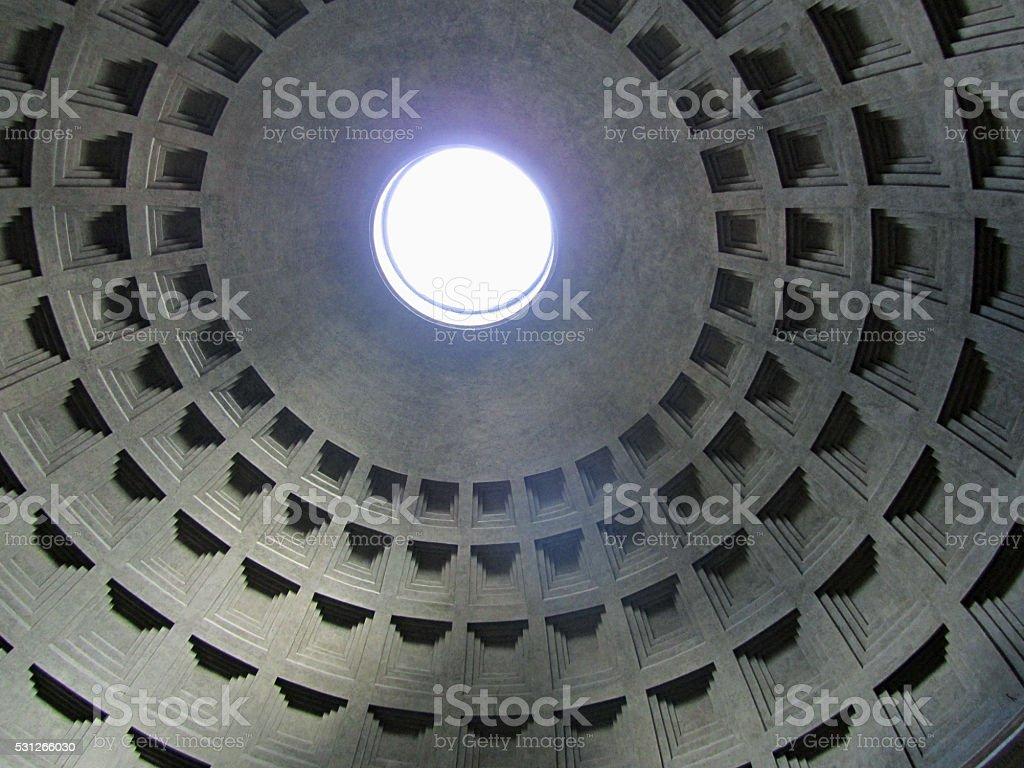 Detail of the dome of the Pantheon, Rome, Italy stock photo