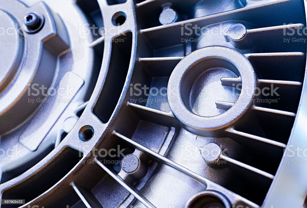 Detail of the electric motor housing. stock photo