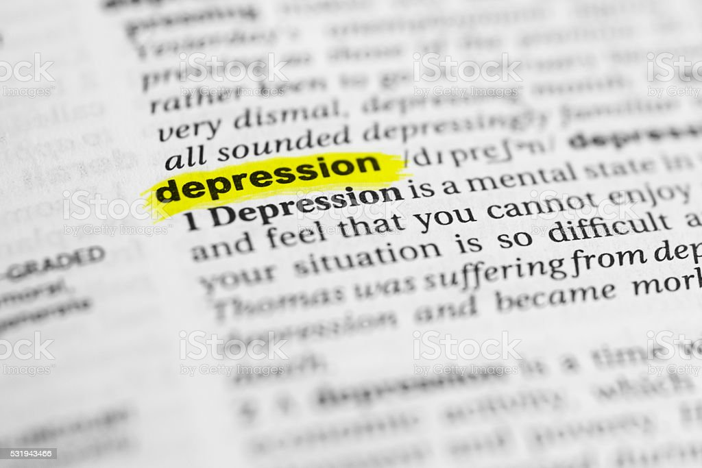 Detail of the english word 'depression' and its meaning stock photo