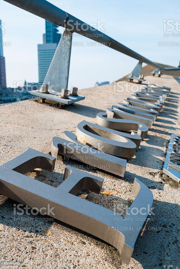 Detail of the Erasmus bridge in Rotterdam, the Netherlands stock photo