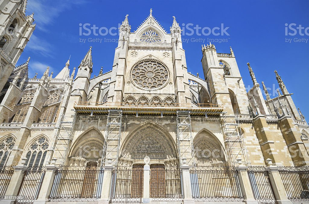 Detail of the facade Leon Cathedral, Spain. stock photo