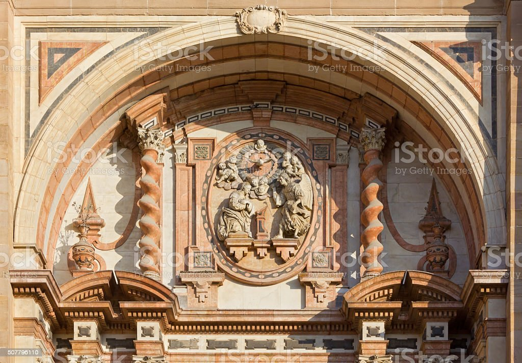 Detail of the Facade of the Malaga Cathedral stock photo