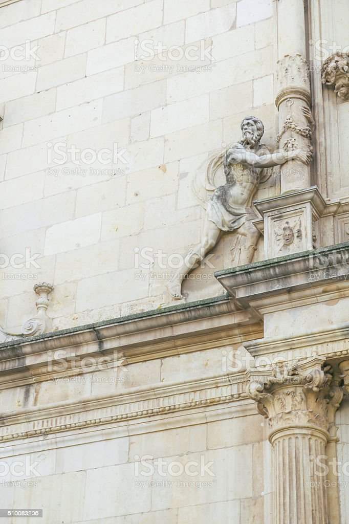 Detail of the facade of the University of Alcala stock photo