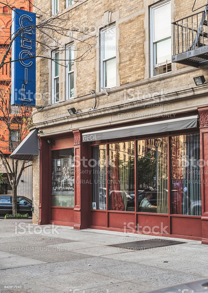 Detail of the facade Restaurant The Cecil, in Harlem stock photo