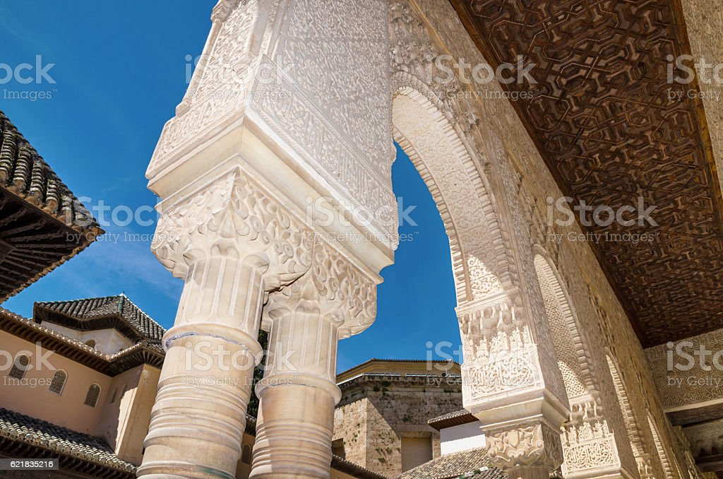 Detail of the famous Alhambra palace, Granada, Andalusia, Spain. stock photo