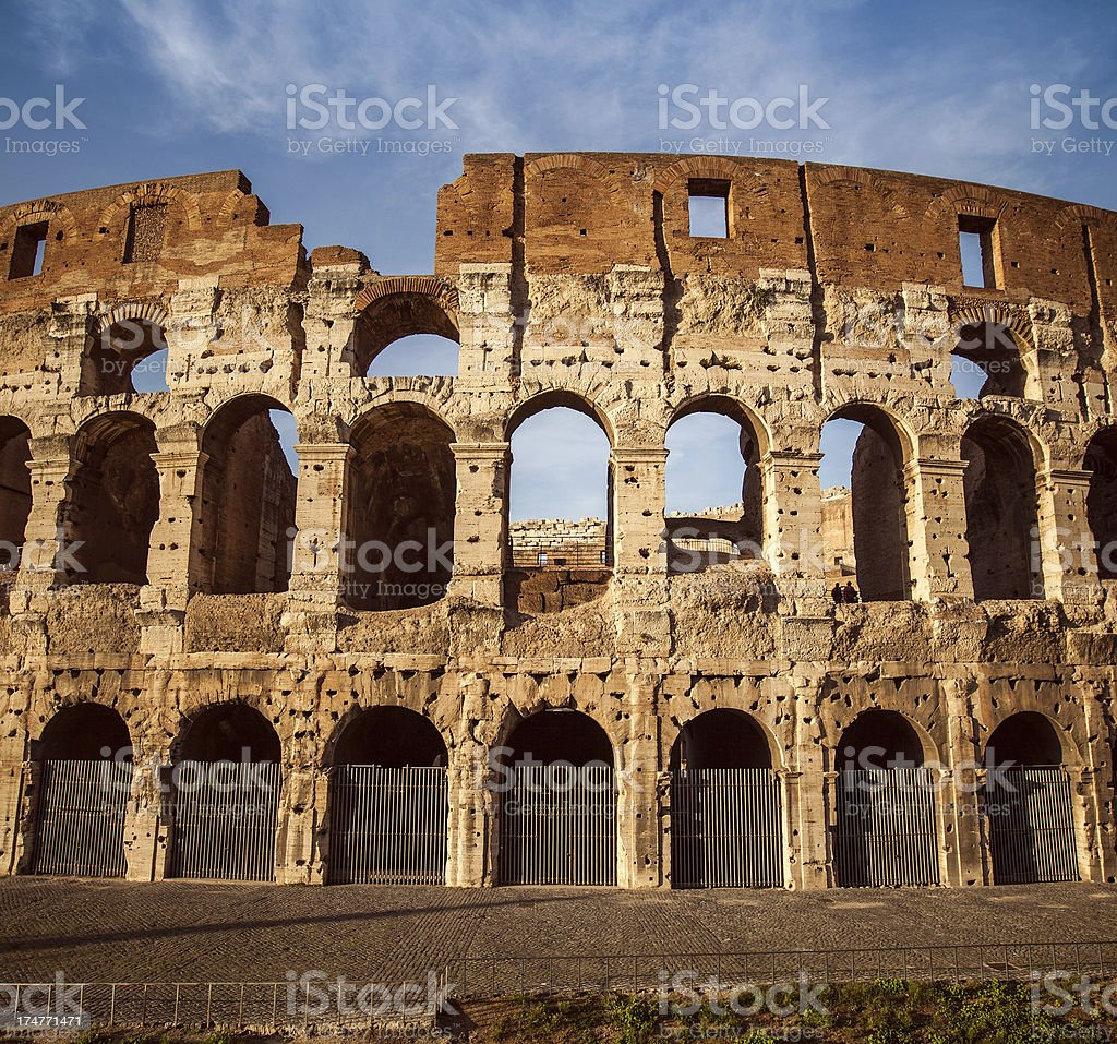 Detail of the Flavian Amphitheater, or Coliseum royalty-free stock photo