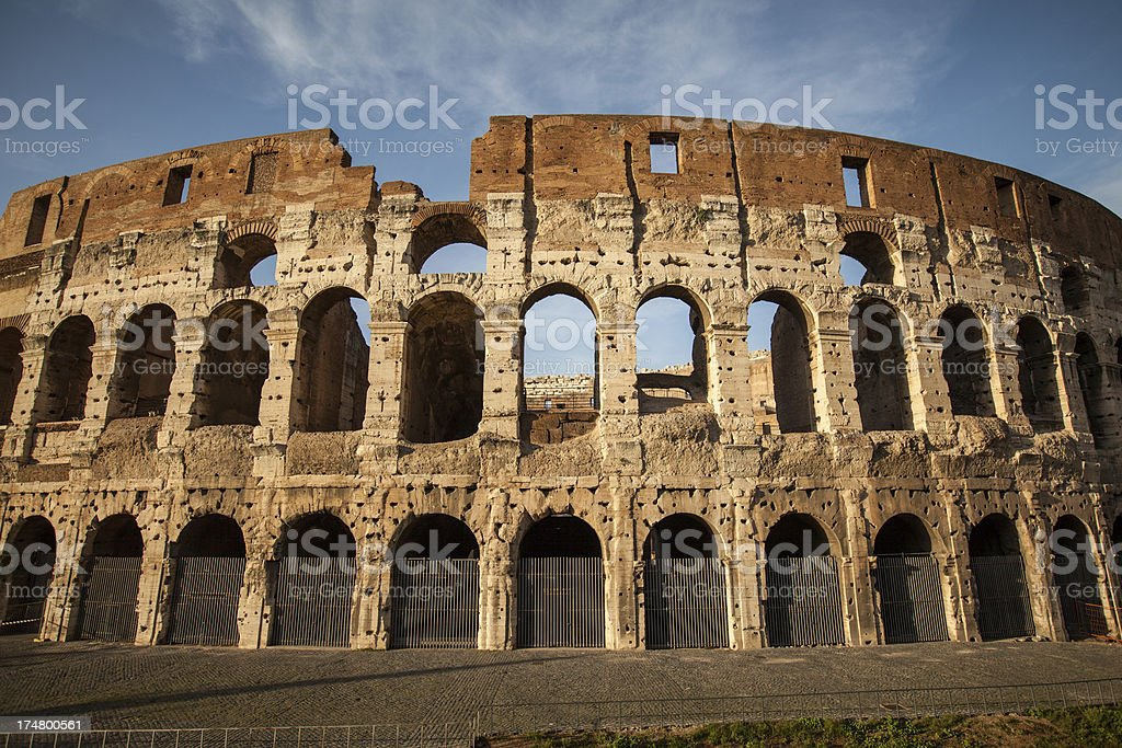 Detail of the Flavian Amphitheater, or Coliseum stock photo