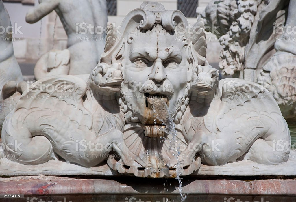 Detail of the Fontana del Moro on the Piazza Navona. stock photo