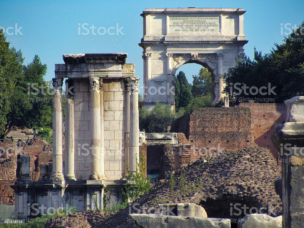 Detail of the forum Romanum in Rome, Italy stock photo