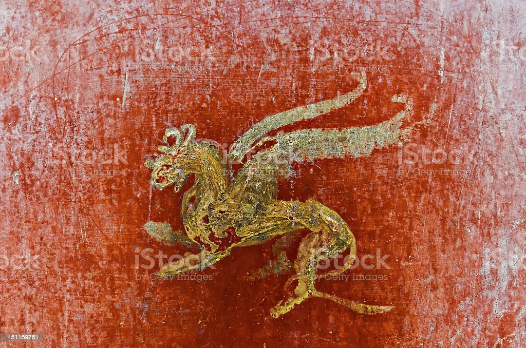 Detail of the fresco in Pompeii with winged griffin stock photo
