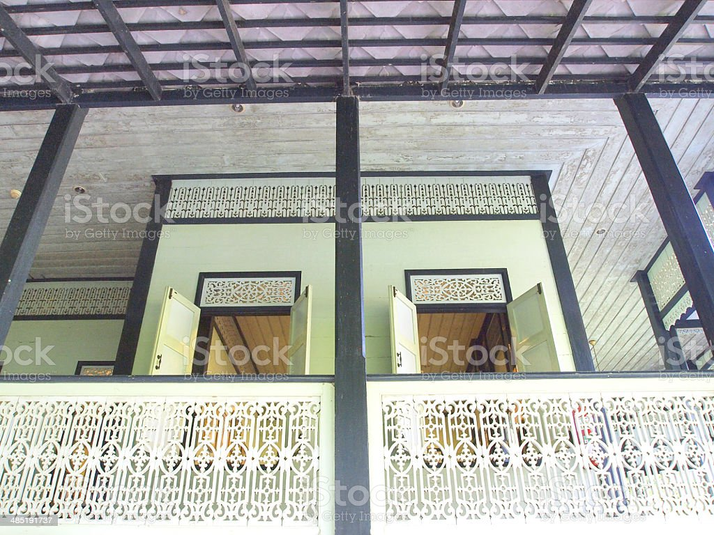 Detail of the gable of Thai style roof stock photo