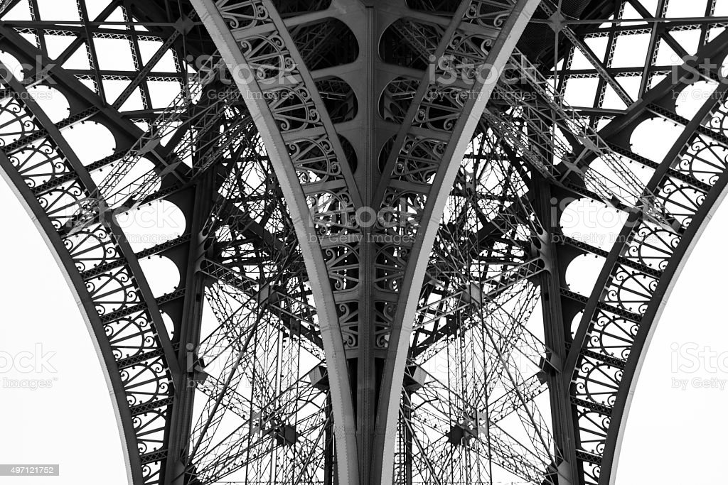 Detail of the legs of the Eiffel Tower, Paris, France. stock photo
