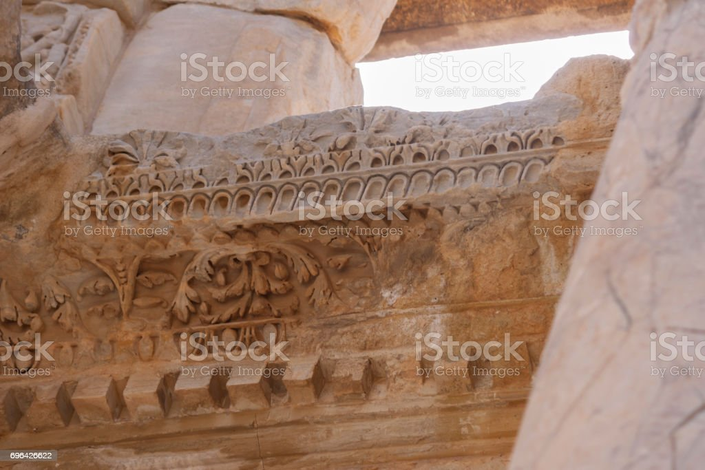 Detail of the Library of Celsus - Ephesus - Turkey stock photo