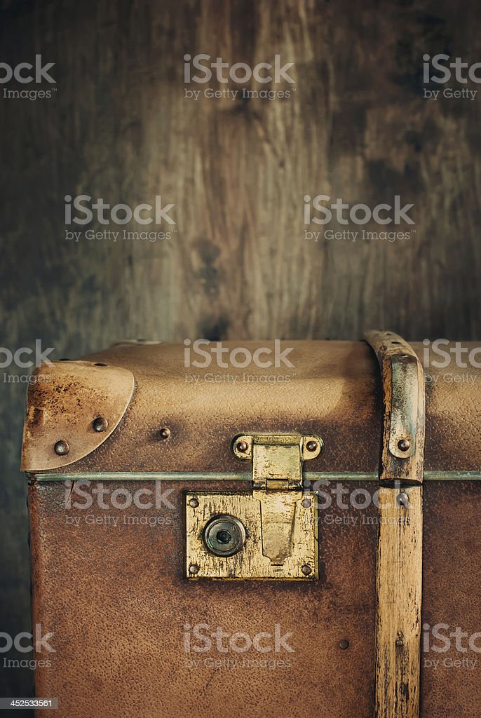 Detail of the lock on an old vintage trunk stock photo