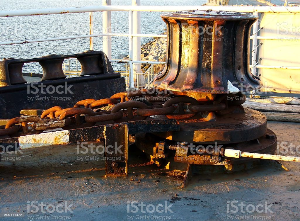 Detail of the mechanical part of a ship stock photo