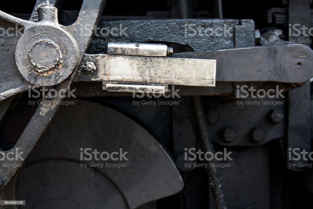Detail of the Mechanics of a Steam Engine Train stock photo