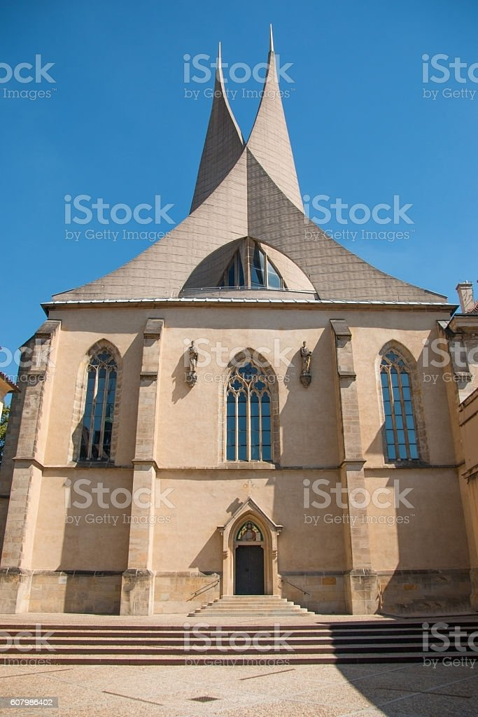 detail of the modern architecture of the Emmaus monastery stock photo