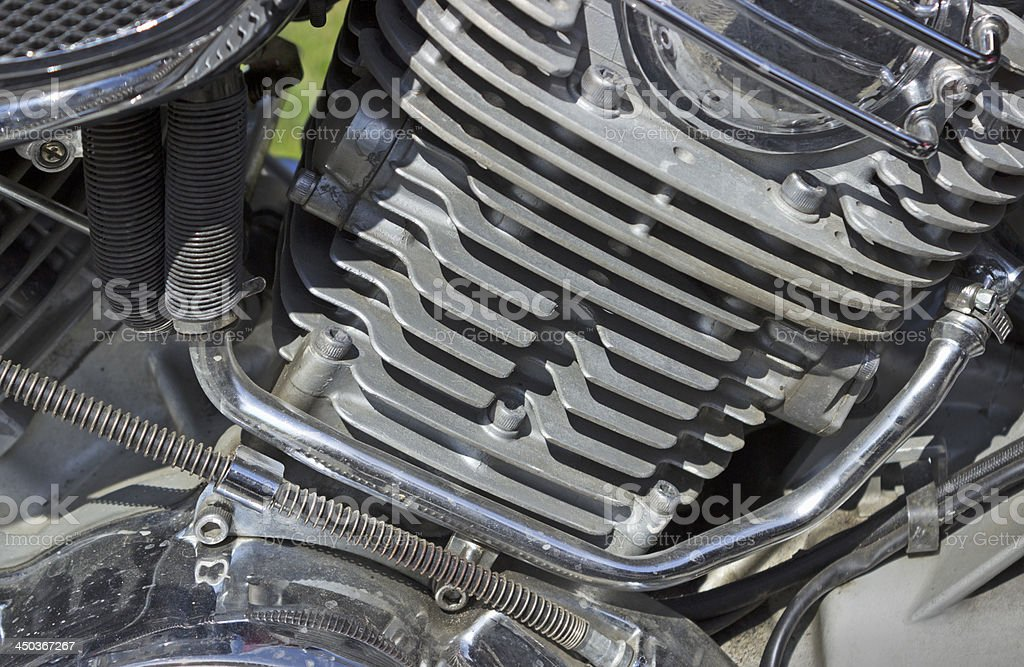 Detail of the motorcycle engine stock photo
