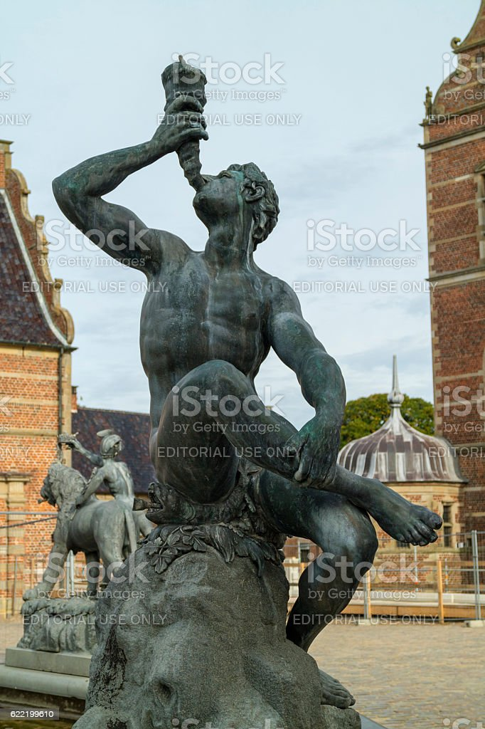 Detail of the Neptune Fountain in Frederiksborg Castle in Hiller stock photo