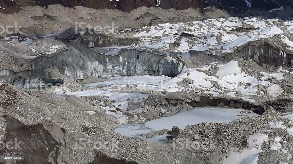 Detail of the Ngozumba Glacier stock photo