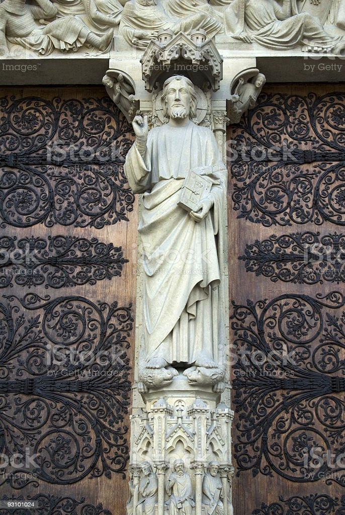 Detail of the Notre Dame?s main door royalty-free stock photo