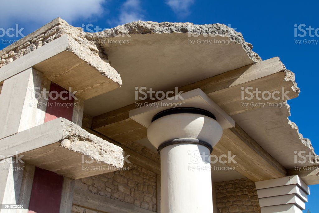 Detail of the Palace of Knossos stock photo