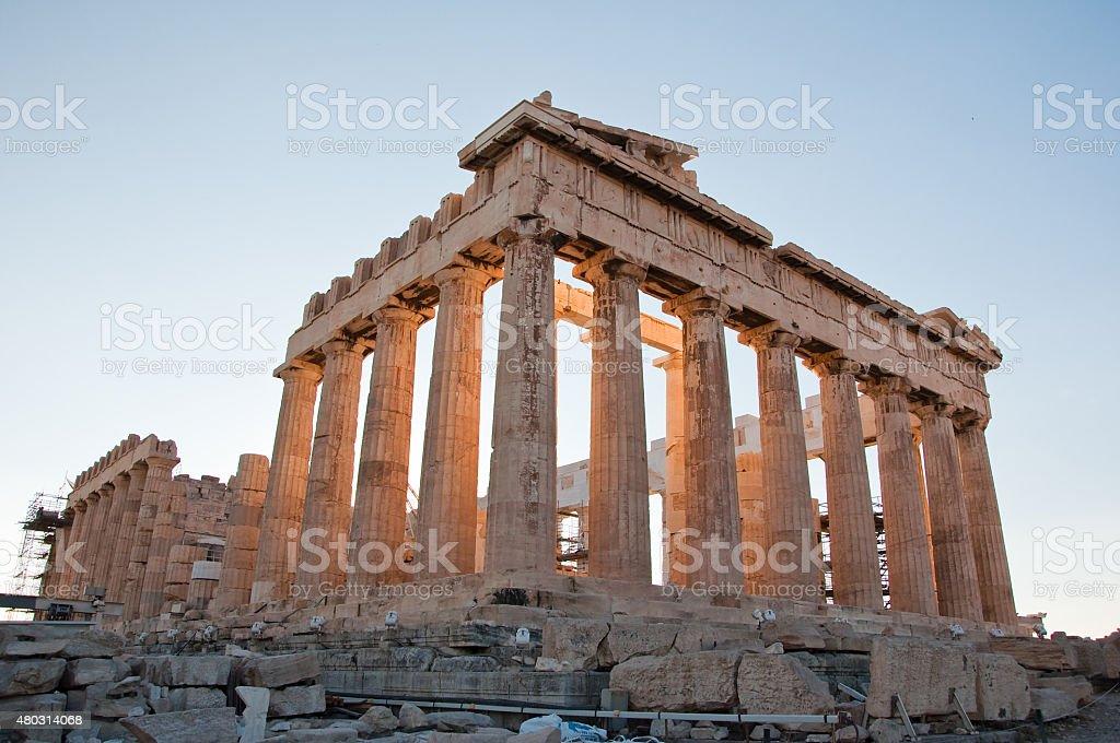 Detail of the Parthenon on the Athenian Acropolis, Greece stock photo
