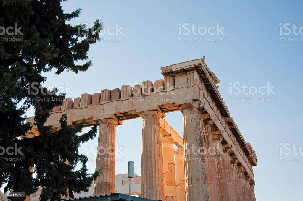 Detail of the Parthenon on the Athenian Acropolis, Greece stock photo
