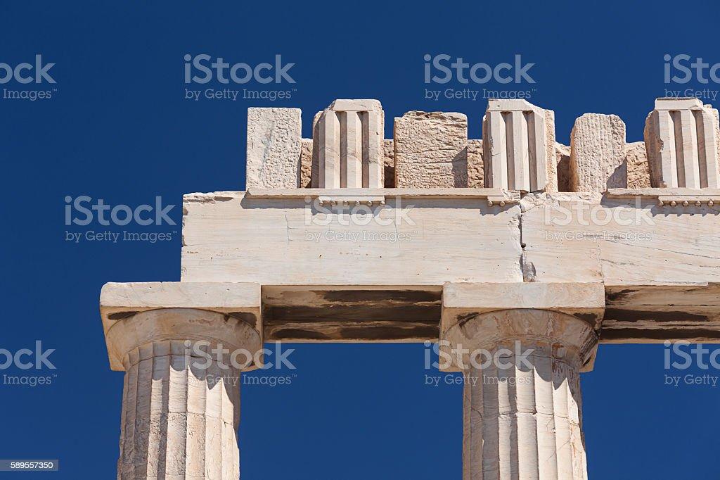 Detail of the Parthenon stock photo