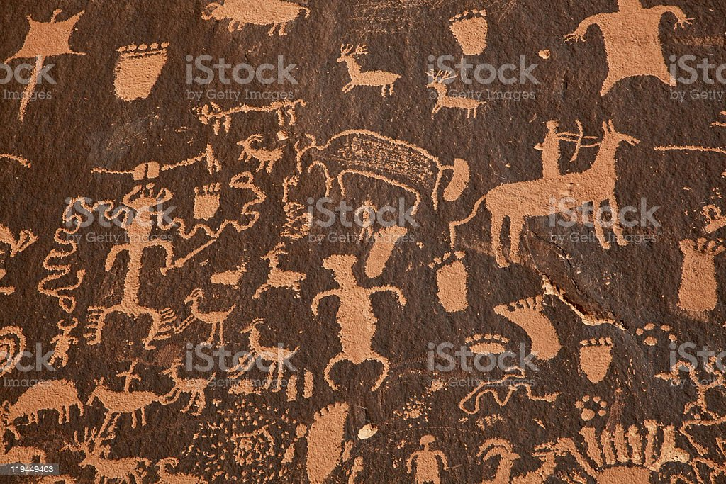 Detail Of The Petroglyph Panel Newpaper Rock in Utah stock photo