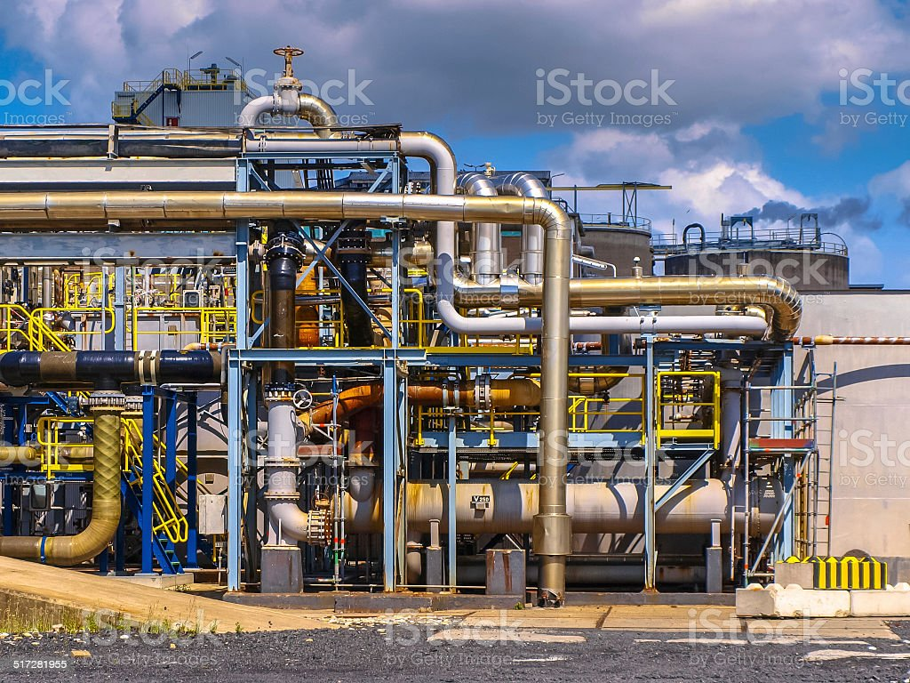 Detail of the pipes in a chemical plant stock photo