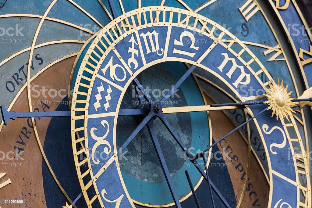 Detail of the Prague Astronomical Clock (Orloj) stock photo