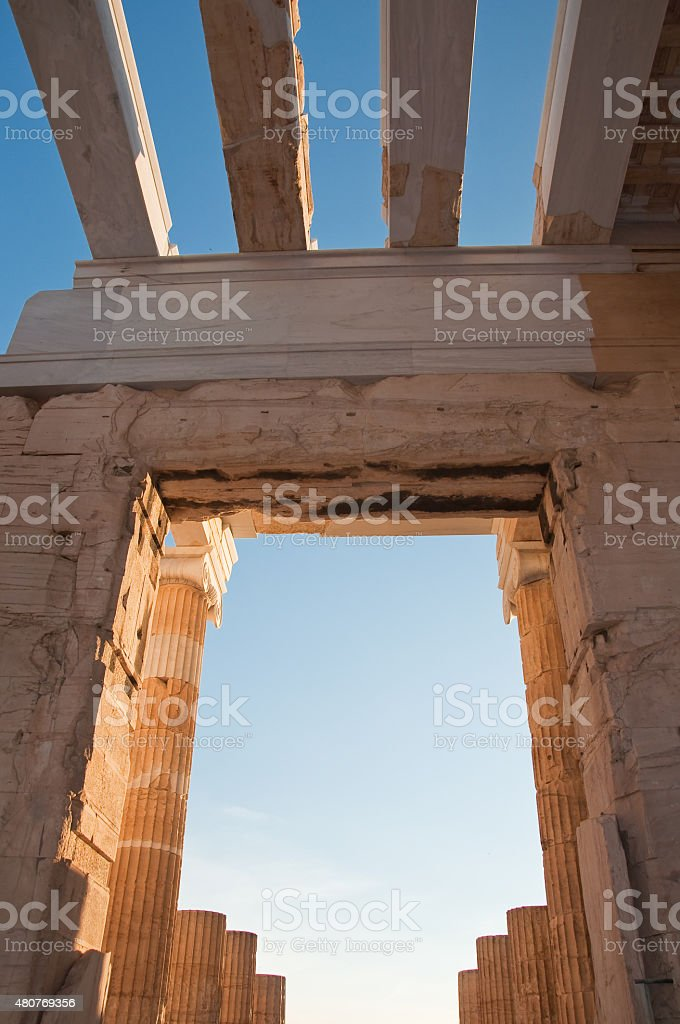 Detail of the Propylaea on the Acropolis of Athens, Greece. stock photo