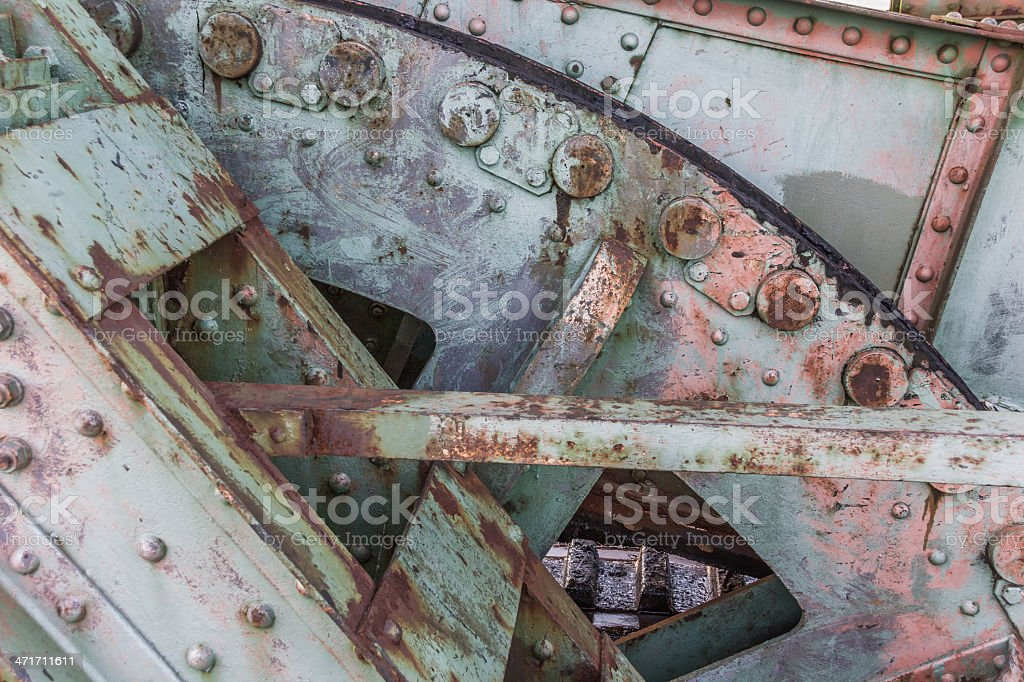 Detail of the railroad bridge Friesenbrucke close to Weener stock photo