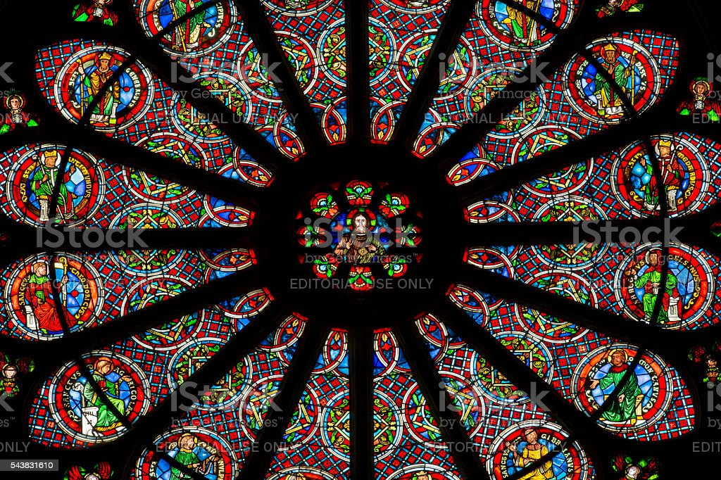 Detail of the rose window stock photo