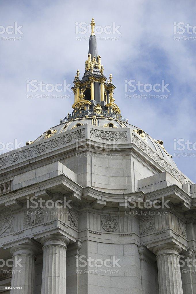 Detail of the San Francisco City Hall stock photo