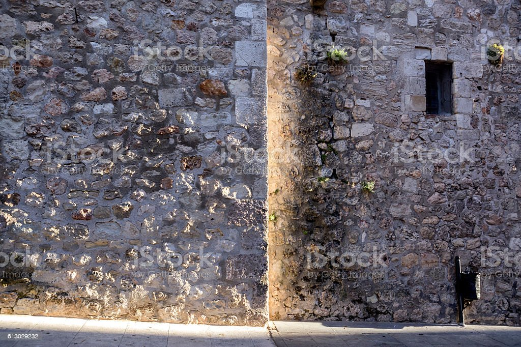 detail of the side street of the cathedral of Cuenca stock photo