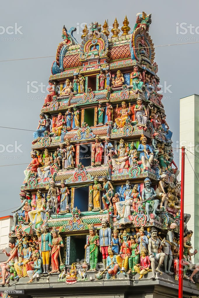 Detail of the Sri Mariamman Temple, Chinatown, Singapore stock photo
