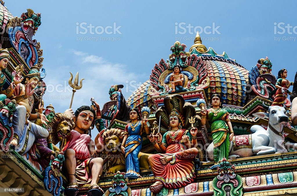 Detail of the Sri Mariamman Temple in Chinatown, Singapore stock photo