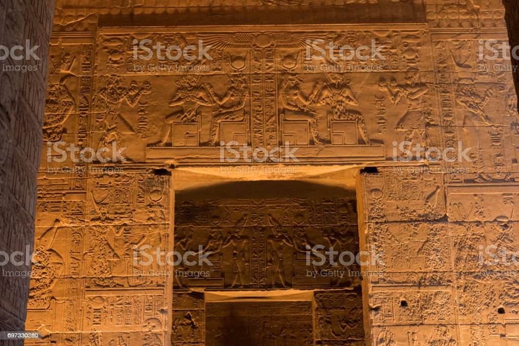 Detail of the Temple of Philae, Aswan, Egypt. stock photo